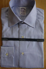 NWT Brooks Brothers Egyptian Cotton White Blue Stripe Spread 14.5-34 MSRP $185