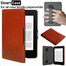 "For Amazon Kindle Paperwhite 6"" inch -Brown Leather Folio Strap Pouch Case Cover"