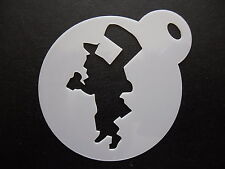 Laser cut small mad hatter design cake, cookie,craft & face painting stencil