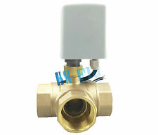 "Brass Motorized Ball Valve T/L Port 220VAC Three Way 3/4"" DN20 Electrical Valve"