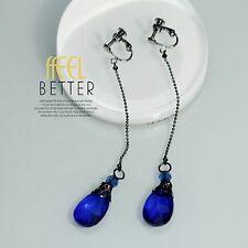 Boucles d`Oreilles Clips Fin Long Chaine Noir Poire Goutte Bleu Simple E2