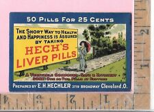 HECK'S LIVER PILLS E H HECHLER CLEVELAND OH PILL ENVELOPE VICT AD TRADE CARD