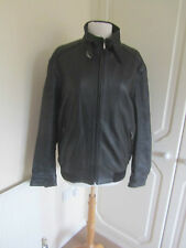 WORN ONCE COMPANY DAVID MOORE BLACK REAL LEATHER BOMBER JACKET SIZE 40 LARGE