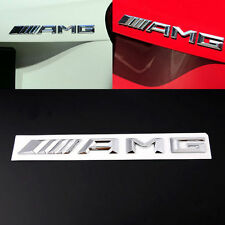 3D Metal Silver AMG Logo Badge Car Sticker Body Emblem Self Adhesive For Benz