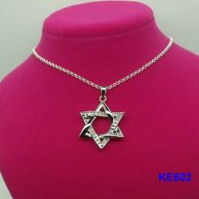 "New LF 925 Silver Plated Magen David Star Pendant Necklace ""O"" Chain 20"""