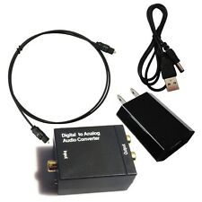 Digital Optic Coaxial RCA Toslink Signal to Analog R/L Audio Converter Adapter