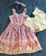 Bodyline JAPAN Sweet Lolita ALICE IN WONDERLAND pink brown Dress Apron M COSPLAY