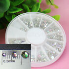 500Pcs 3 Sizes Nail Art Tips Crystal Sparkling Rhinestone Decoration + Wheel