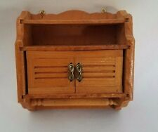 Vtg Dollhouse Miniature Wall Hanging Wood Storage Cabinet Shelf Towel Rack Bar