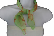 Glamorous Small Bright Green with Orange Useful Scarf Fabric Square Pocket