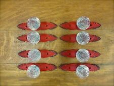 8 RED ANTIQUE-STYLE FRENCH PULLS CLEAR KNOBS DRAWER CABINET HANDLE vintage chic