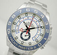 Rolex YACHTMASTER 2 116680 Mens Steel Blue Ceramic Bezel White Dial 44MM