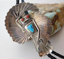 Vtg Old Pawn NAVAJO Sterling Silver WINGED KACHINA Turquoise Red Coral Bolo Tie
