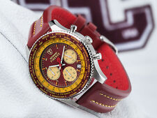 DETOMASO Firenze Mens Watch Chronograph Stainless Steel Dark Red Yellow New