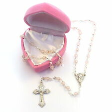 My 1st rosary childs girl pink glass small rosary beads + box fab Communion gift