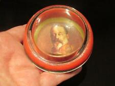King Edward VII Vintage Glass Paperweight Red Background Portrait in Uniform