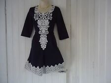 NAVY  BLUE WHITE CREAM  LACE DETAIL 1950S STYLE DRESS SIZE 10 WEDDING