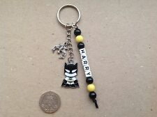 Handmade Personalised Name Superhero Batman Inspired Keyring Boys Bag Tag Charm