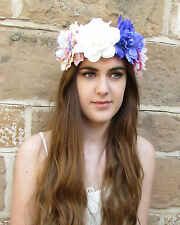Oversized couronne Cheveux Fleur Violet Or blanc rose grand grand Festival Boho w77