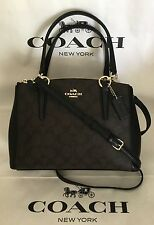 COACH F36718 F58290 SIGNATURE MINI CHRISTIE CARYALL BROWN/BLACK PURSE NWT