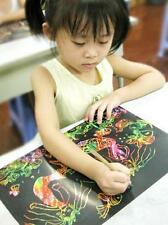 Colorful Scratch Art Paper Magic Painting Wax Paper + Drawing Stick 10 Sheet 16K