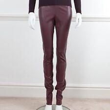 JOSEPH Burgundy Lambskin Leather Elasticated Waist Pull On Trousers Fr 34 UK 6