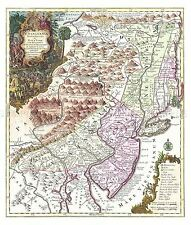MAP ANTIQUE 1756 LOTTER PENNSYLVANIA NEW YORK JERSEY REPRO POSTER PRINT PAM1643