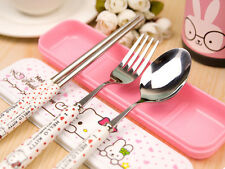 Hello Kitty Pottery Tableware,stainless steel tableware,Fork+Spoon+Chopsticks,
