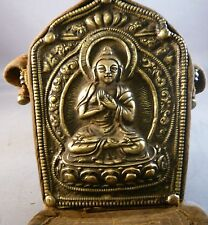 VINTAGE TIBETAN BUDDHIST PORTABLE GHAU PRAYER BOX BUDDHA FIGURE SHRINE SERMONS