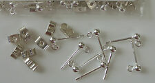 Silver 925 Findings - Bead & Ring Earring Stud with Scrolls x 5 pairs