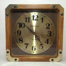 Waltham Clock 8 Day Square Brown Working Quartz Movement