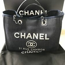 CHANEL 15P Deauville Canvas Leather Top Handle Tote Chain Summer Navy Blue Denim
