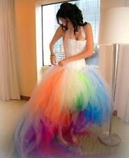 2016 Colorful Rainbow Wedding Dresses With Halter Hi Lo Bridal Dresses Custom