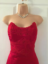 KAREN MILLEN STUNNING RED SILK/LACE PENCIL/WIGGLE DRESS 12