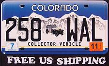 "COLORADO "" COLLECTOR VEHICLE - CAR "" Graphic License Plate FREE US SHIP"