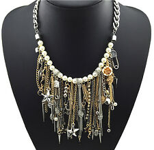 Punk Statement Necklace Spike Skull Star Rivet Charms Pearl Silver Gold Tassels