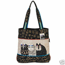 Laurel Burch Wild Cats Black Creme Handbag Feline Cats Lg Shoulder Tote Bag New