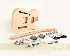 Semi-Hollow Body DIY Electric Guitar Kit with Mahogany Unfinished New