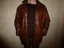 Vintage Ciro Citterio Leatherware mens size large L heavy leather jacket brown
