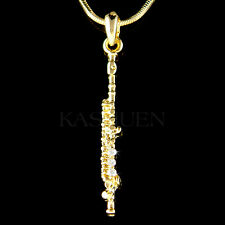 w Swarovski Crystal ~Flute Woodwind Music Musical Instrument Gold Tone Necklace