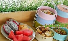 Enamel Tiffin 3Tier Lunch Box Pinto Thai Food Container Dessert Noodle Rice Herb