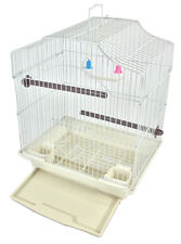 BIRD CAGE KIT White Starter Set Perches Swing Feeders Scalloped Top Small Bird