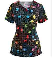 Medical Scrub Top By Bio Trust Your Journey Rainbow Puzzle Scrub Top (Small)