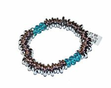 FIORELLI Costume Silver Colour Loops & Blue Glass Link Bracelet (RRP £27.95)