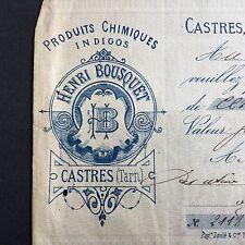 Facture Ancienne Henri Bousquet Castres Tarn Indigo Produit Teinture 1883