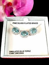 NIB GORGEOUS SILVER PLATED BRASS NECKLACE BLUE TOPAZ CUBIC ZIRCONIA PENDANT