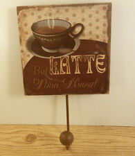 Espresso Coffee Cup Latte Cafe Key Ring Holder Wall Hook Wooden Plaque Hanging
