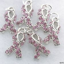 (20) Rhinestone PINK RIBBON Breast Cancer CHARMS ~ Jewelry Craft Party Supplies