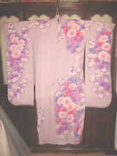 SALE -100% Pure Silk Japanese Furisode Kimono Flowers Fabric Lavender Beautiful!