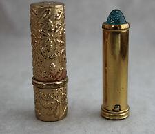 Two Vtg Revlon Lipstick Tubes Lucite Glitter End and Embossed Gold #514